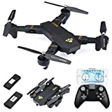 Virhuck VISUO XS809HW Drone with Camera 720P Foldable RC Quadcopter 2.4 GHz, with Dual Batteries 900mAh, WiFi FPV Quadcopter with Live Video Mobile APP Control Altitude Hold Mode Selfie RC Helicopter