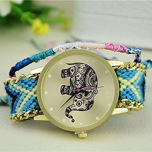 - UEB Elephant Weave Braid Hand Chain Bracelet Quartz Watch Gift for Women Blue A