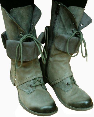 Tamaris - bota militar mujer gris