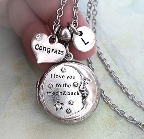Congrats Locket Necklace, I Love You To The Moon and Back, Elegant Jewelry Best Graduation, Congratulatons ()