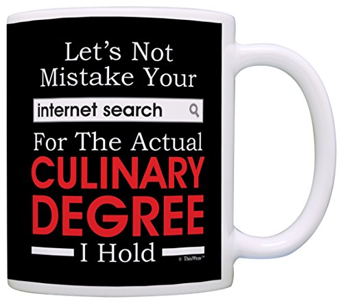 Culinary Gifts Mistake Internet Search for Degree Funny Chef Gag Gift Coffee Mug Tea Cup Black
