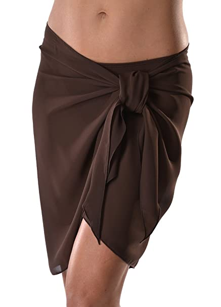 abb69379c2cc5 Short Solid Sarong Cover Up O S - Brown at Amazon Women s Clothing store  Fashion  Swimwear Cover Ups