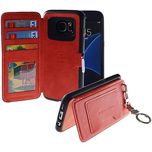 [Back Pocket Case] [5 Card Slot] Finger Holder Clip PU Leather TPU Bumper Clutch Case [Drop Protection] For Galaxy S7 Edge (Orange) Sales