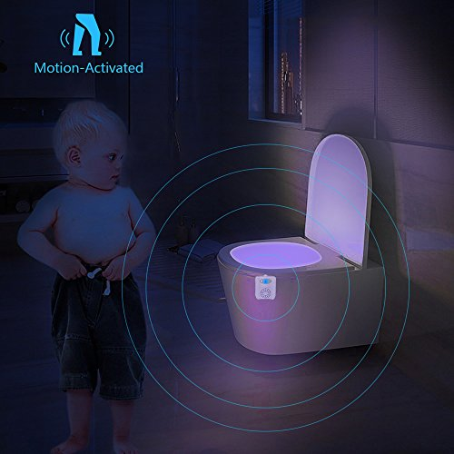SEYEON Toilet Lights Waterproof Led Toilet Night Lights Motion Sensor Light for Toilet with Aromatherapy, 16 Colors UV Toilet Bowl Light for Kids,Bathroom,Washroom,Bedroom (2 pack)