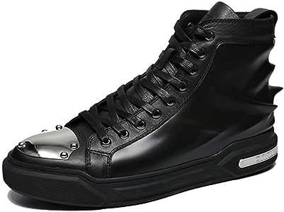 HRN Zapatos de impresión 3D para Hombres Zapatillas de Cuero Redondas con Cabeza Alta y Parche de Metal Zapatillas Deportivas Primavera Nuevo,Black,41EU: Amazon.es: Deportes y aire libre