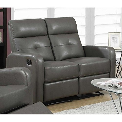 bonded leather love seat charcoal