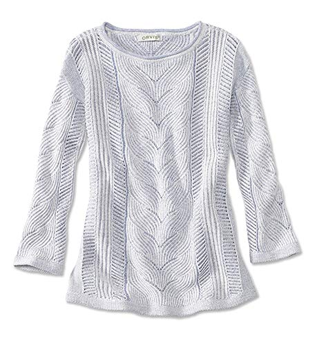 Orvis Women's Three-Quarter-Sleeved Plaited Cotton Cable Sweater, Big Sky, Large