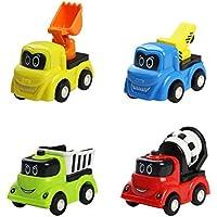 Camiones de Juguete para Niños 4 Piezas Coches Miniatura Vehículos de Construcción 3 Años +