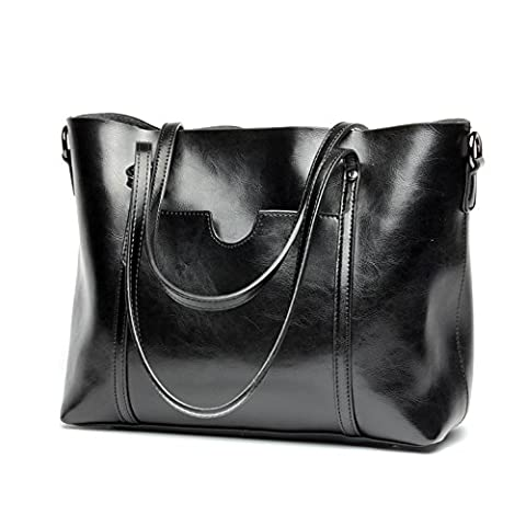 Montmo Women's Vintage Genuine Leather Tote Shoulder Bag Handbag Set (Black)