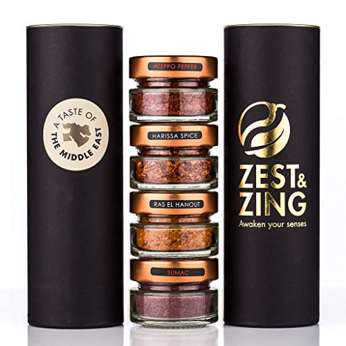A Taste of the Middle East (Aleppo Pepper, Ras El Hanout, Sumac, Harissa) - Premium Spice Gift Sets By ZEST & ZING. Fresher, convenient, stackable Spice Jars. Spice jar & ()