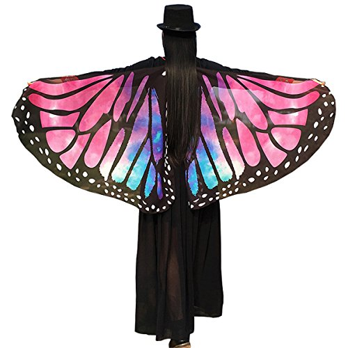Soft Fabric Butterfly Wings Shawl Fairy Ladies Nymph Pixie Costume Accessory ((Rose) 14665 cm (57