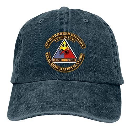49th Armored Division Men Adjustable Washed Twill Low Profile Baseball Cap Dad Hat Navy