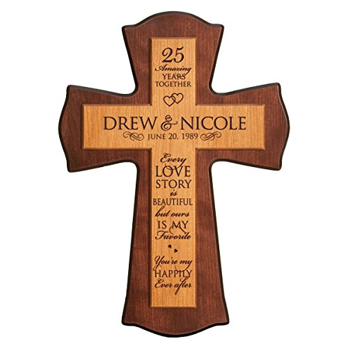 LifeSong Milestones Personalized 25th Anniversary Wedding wall Cross Custom 25 year wedding gift for him her couple Every Love Story Is Beautiful for Wall or Desktop (12