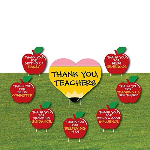 - Teacher Appreciation - Last Day of School Yard Sign & Outdoor Lawn Decorations - Thank You Teachers Yard Signs - Set of 8