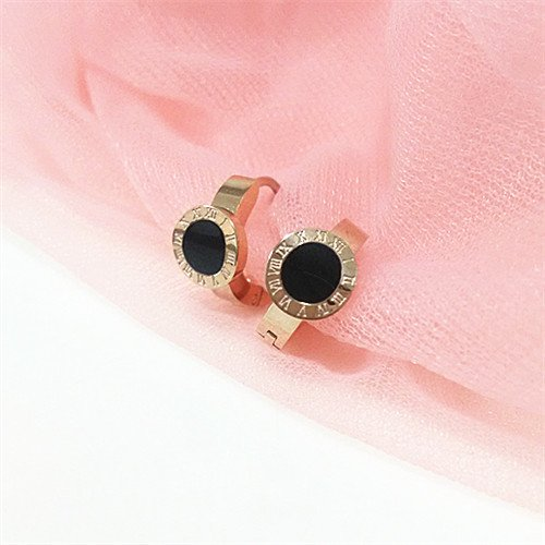 (usongs Korea genuine steel-plated 14K rose gold Roman numerals jewelry classic black onyx earrings ear buckle)