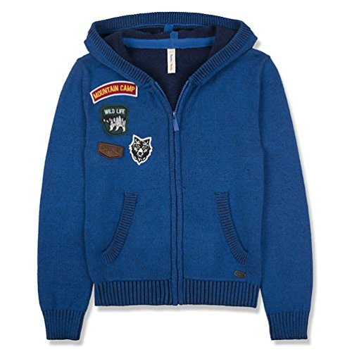 Benito & Benita Boys' Cardigan Sweater Zip Badge Sweater with Pockets Sky Blue for 7-8Y Hooded Ribbed Cardigan