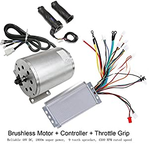 WPHMOTO 48V 1800W Brushless Electric Motor and Controller with Throttle Grip Set for Go Kart Scooter e-Bike Motorized Bicycle ATV Moped Mini Bikes