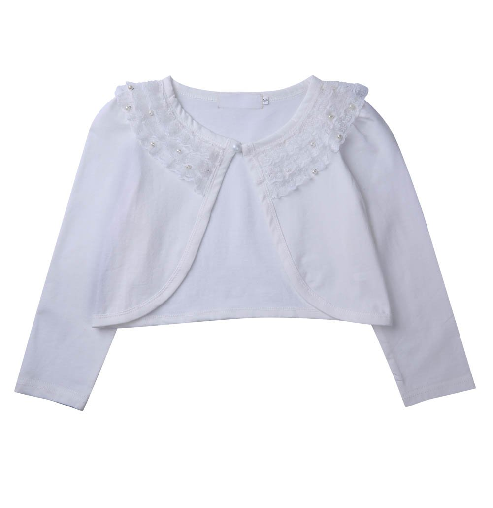 Colorful House Girls Long Sleeve Beaded Lace One Button Cardigan Shrug (130cm,White)