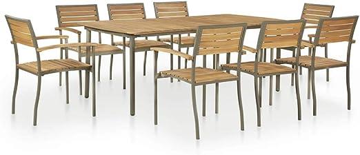 vidaXL Gartenmöbel 9 TLG. Akazien Massivholz Stahl Sitzgruppe Gartengarnitur