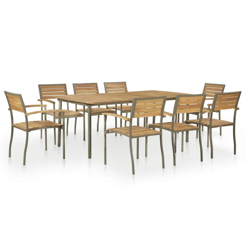 Festnight 9pcs Outdoor Dining Table Chairs Set Wooden Garden Furniture Set 8 Seater Garden Patio Dining Set For Outdoor Living And Dining 8x Stacking Chairs 1x Table Acacia Wood Steel