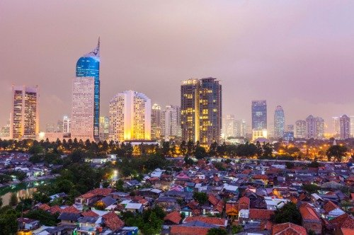 JAKARTA INDONESIA SUNSET SKYLINE GLOSSY POSTER PICTURE PHOTO BANNER java by ConversationPrints