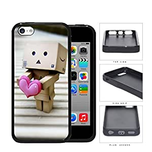 Robot Made Of Cardboard Boxes With Pink Heart Rubber Silicone TPU Cell Phone Case Apple iPhone 5c