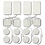 TENS Replacement Electrode Pads- Small & Large Size 16-Pack, Self Adhesive Reusable Electrodes for TENS Acupuncture Digital Therapy Machine Massager , Muscle Stimulator