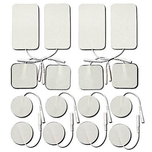 OudysCare Self-adhesive Medical Electrodes Tens Unit Electrodes Replacement Pads for TENS / EMS / Electrotherapy , Small and Large, 16-Pack - Tens Unit Replacement Pads