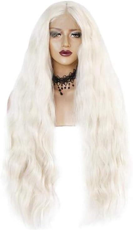 Peluca Blanca Peluca De Encaje Frontal Femenina Peluca Ondulada Larga Y Rizada Peluca De Lana Rizo Peluca Sintética De Cabello Humano Ayhvia: Amazon.es: Belleza