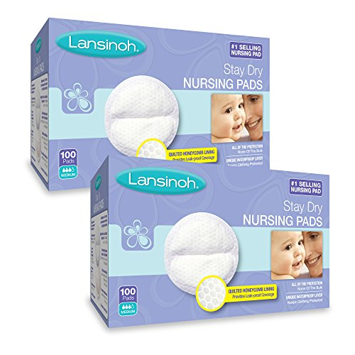Lansinoh Nursing Pads, 2 Packs of 100 (200 Count) Stay Dry Disposable Breast Pads ()