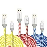 Micro USB Cable, Eversame 3 Pack 6Ft 1.8M Premium Nylon Braided High Speed Data Sync Charger Cord with Aluminum Shell For Android, Samsung Galaxy S6 Edge Plus/Note 5, HTC and More (Red Yellow Blue)