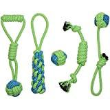 Rope Dog Toy Set, Dog Chew Toys, Puppy Teething Toy,Interactive toy,Durable and Washable Cotton Rope Toy for playtime and Teething cleaning(set of 5),For SMALL and MEDIUM DOGS