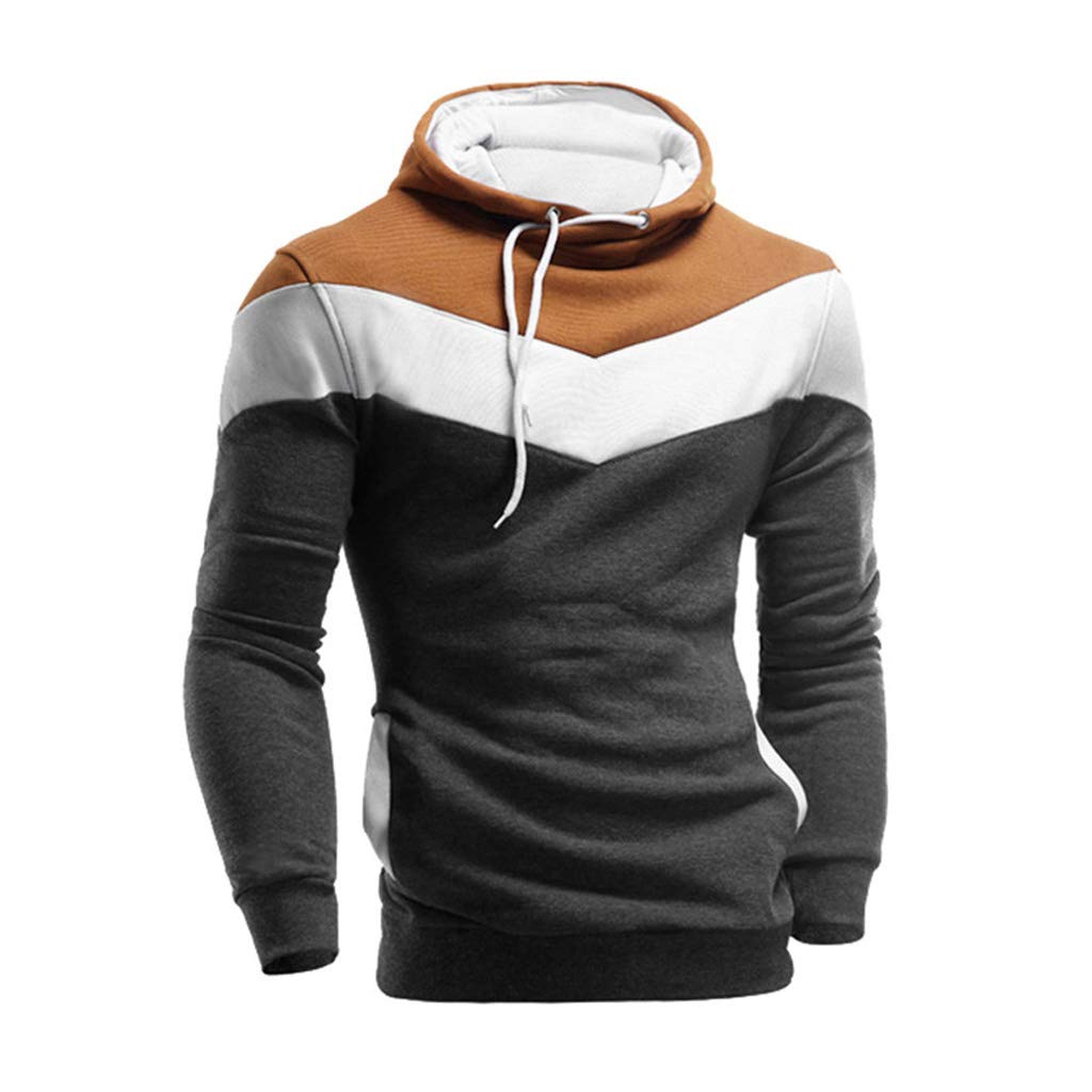 73d1670a4 Amazon.com: Fanteecy Mens Slim Fit Hoodie Color Block Pullover Hooded  Sweatshirt Outwear Hoodies with Kanga Pocket: Clothing