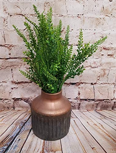 PD Home Modern Galvanized Metal Vase with Copper Accents and Ridges 7 Inch