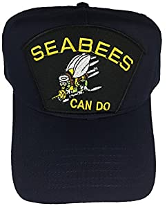 U.S. NAVY SEABEES CAN DO W/ BEE LOGO HAT - NAVY BLUE - Veteran Owned Business