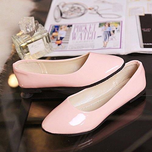 VULK Comfortable Women shoes flat bottom varnished leather shoes . B074KZRKVF 38 M EU Pink