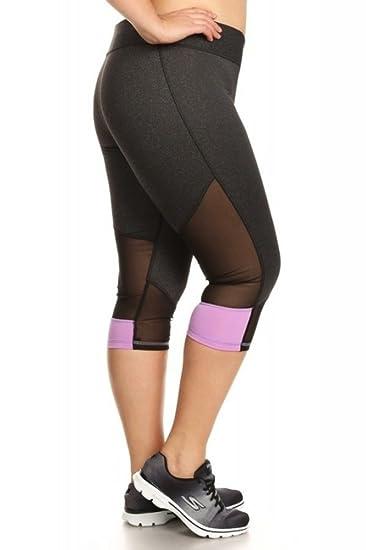 6973527c1c32d9 Amazon.com: Womens Plus Size Activewear Leggings Sports Pants Capri Mesh  Yoga Gym Bottoms Heather Charcoal/Orchid 1x: Clothing