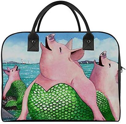 ボストンバッグ キャリーオン 大容量 トラベルバック 旅行 豚にトレス ユーモア 肩掛け 手提げ ガーメントバッグ フライトバッグ スポーツ ジム ショルダー付き 旅行バッグ ジムバッグ 機内持ち込み