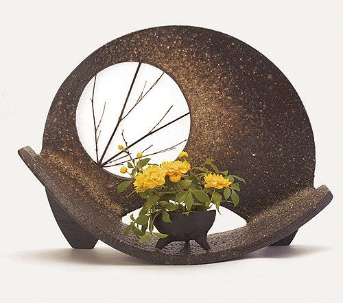 信楽焼陶器 花器 名月 専用ミニ植木鉢付 高さ29.0cm hk-0502 B00D676CNS