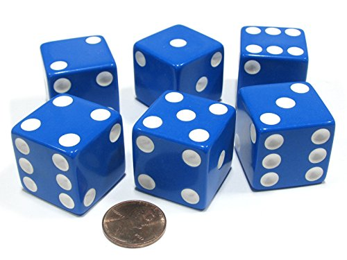 25 Blue Dice - Set of 6 D6 25mm Large Opaque Jumbo Dice - Blue with White Pip