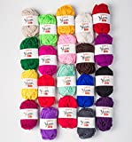 Kyпить SUNTQ 100% Acrylic Yarn 20 Assorted Colors Skeins Bonbons Yarn for Crochet & Knitting Assorted Rainbow Variety Colored Assortment на Amazon.com