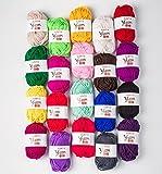 yarn colors - SUNTQ 100% Acrylic Yarn 20 Assorted Colors Skeins Bonbons Yarn for Crochet & Knitting Assorted Rainbow Variety Colored Assortment