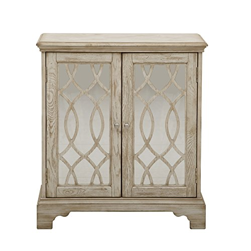 Pulaski DS-A092023 Mirrored Two Door Accent Chest Cabinet with Ogee Overlay and White Wash Finish, Brown (Two Chest Doors)