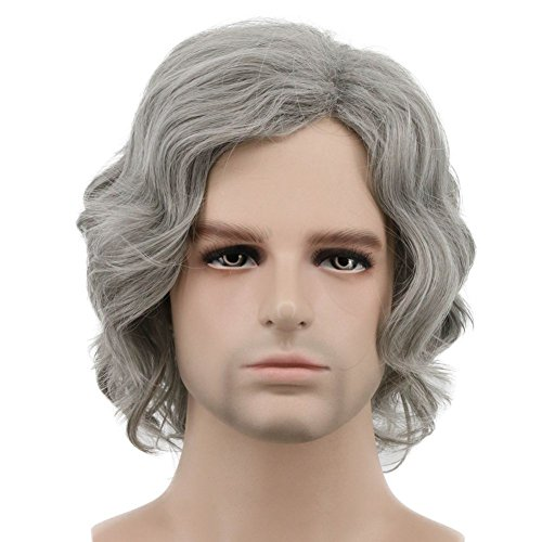 (Karlery Men Short Bob Wave Gray Wig Halloween Cosplay Wig Anime Costume Party)