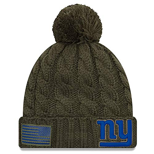 New Era Women 2018 Salute to Service Sideline Cuffed Knit Hat - Olive (New York Giants)