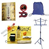 Back to School Wood Clarinet Accessory Pack - Includes: Drawstring Backpack, Wood Clarinet Care Cleaning & Maintenance Kit, Band Folder, Clarinet Tuner/Metronome, & Music Stand