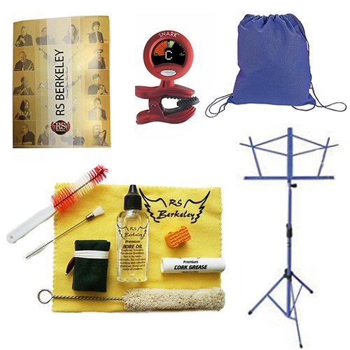 Back to School Wood Clarinet Accessory Pack - Includes: Drawstring Backpack, Wood Clarinet Care Cleaning & Maintenance Kit, Band Folder, Clarinet Tuner/Metronome, & Music Stand by Wood Clarinet Accessory Pack