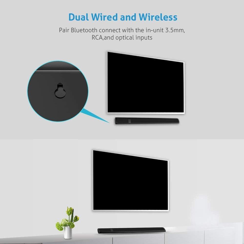 Meidong Altavoz de Barra de Sonido Bluetooth para TV, 36 Pulgadas 2.0 Canales Altavoz de Cine en casa Barras de Sonido, Altavoz Estéreo con múltiples Puertos de conexión(Óptico/RCA/AUX/Bluetooth): Amazon.es: Electrónica