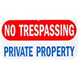 "WALI Aluminum Sign for Home Business Security, Legend "" No Trespassing Private Property"" with Graphic, Rectangle 6"" high x 12"" wide, Red/ Blue on White WA-SIGN-A-4"