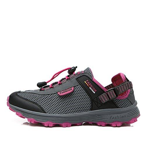 GOMNEAR Womens Trekking Walking Shoes Non-Slip Summer Lightweight Casual Outdoor Sneakers Dark Grey Wg9PlgG935